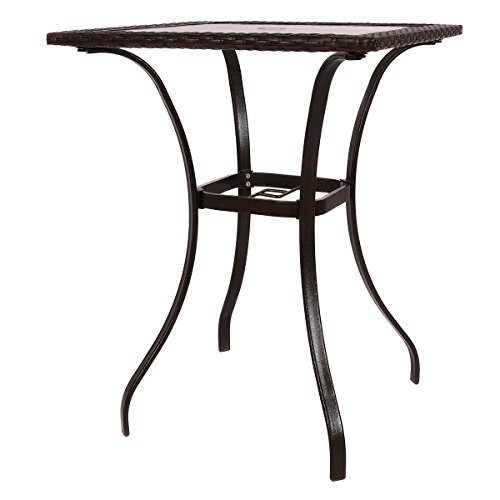 - Mix Brown Patio Square PE Rattan Bar Table Glass Top 37