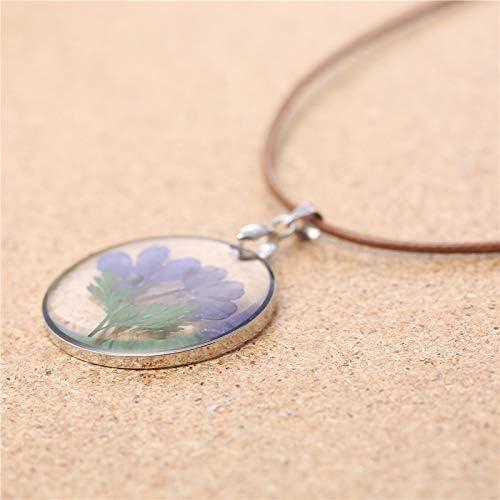 Dry flower specimen necklace blue flower necklace flower pendant necklace
