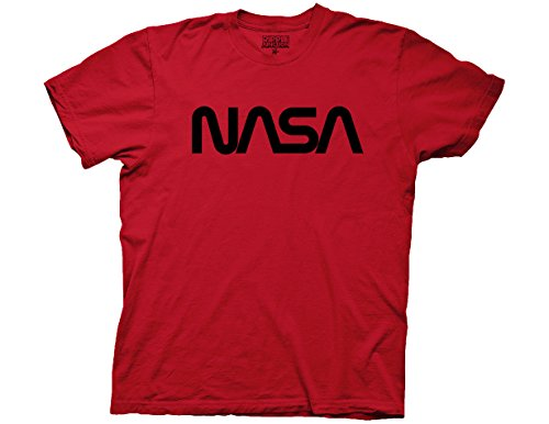- Ripple Junction NASA Worm Logo Black No Distress Adult T-Shirt Small Dark Red