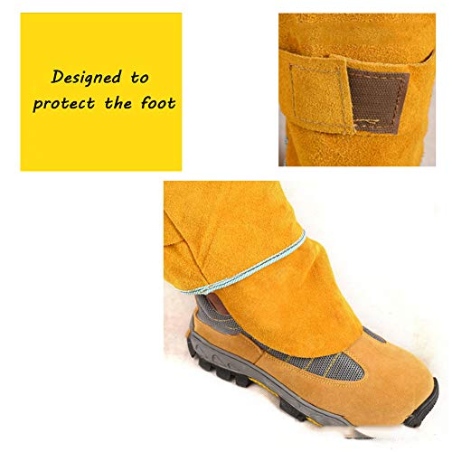 LAIABOR Welding Apron bib Jumpsuit Overalls Protective Foot Safety Apparel for Electrical Weld, Cutting, Casting, Lathe, Steel, Smelting Retardant wear Resistant,Yellow,XXL by LAIABOR (Image #3)