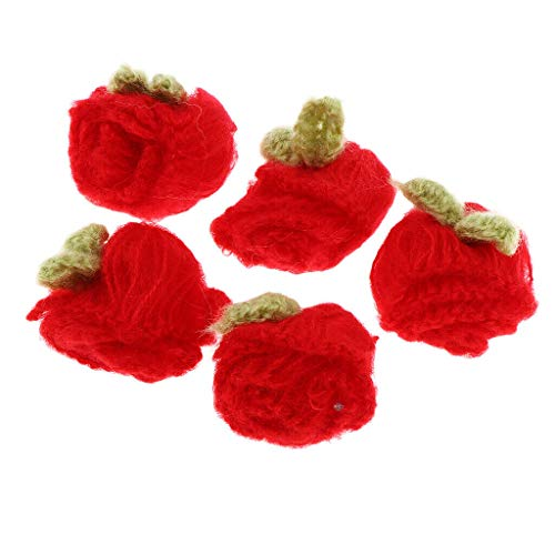 5pcs Crochet Flower Applique Sewing Supplies for Clothes Hats Headband Bows | Color - Red ()