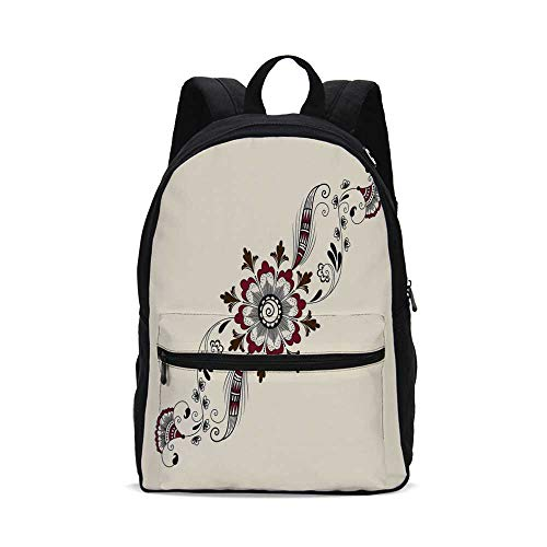(Henna Fashion Canvas printed Backpack,Colorful Floral Pattern Asian Mehndi Arrangement Nature Inspired Abstract Decorative for school,One_Size)