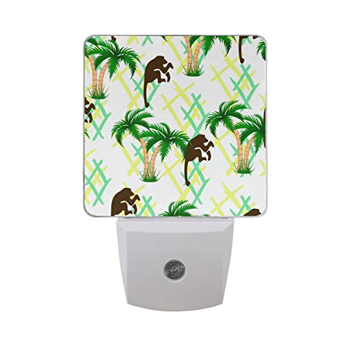 Tropical Palm Tree with Monkey Green and Yellow Geometric Rhombus Summer Design Auto Sensor LED Dusk to Dawn Night Light Plug in Indoor for Kids Baby Girls Boys Adults -