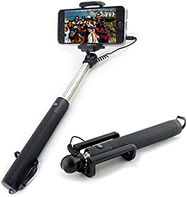 d90e0bd22c46d8 Case&More Wired Selfie Stick Universal Extendable Phone Holder with Remote  Compatible for Apple iPhone 7 6 6S 5 4 [GLOBE STICK]