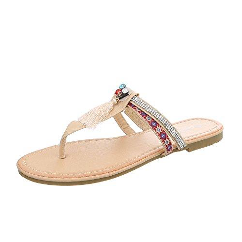 Ital-Design Zapatos Para Mujer Sandalias de Vestir Tacón Ancho Sandalias de Dedo beige PM200