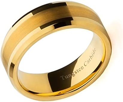 LTM Commerce Tungsten Carbide Gold Plated Ring Mens Wedding Band