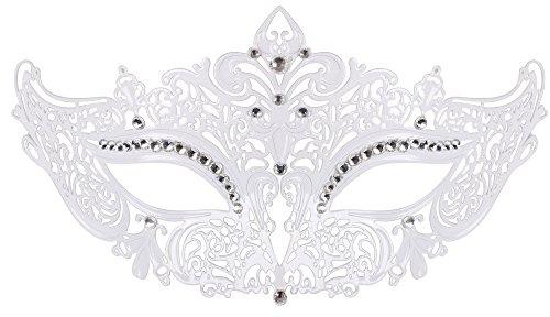 [TAUT Metal Laser Cut Mask Opera Prom Party Masquerade Mask,White Clear Diamond] (Custom Phantom Of The Opera Costumes)