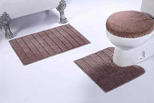 Luxury Home Collection 3 Piece Microfiber Bathroom Rug Set Non-Slip Bathroom Rug Contour, Mat and Toilet Lid Cover #670 (Taupe, 3 PCE Set) ()