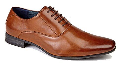 Route 21 Herren mit 5Ösen Uni Oxford Krawatte Schuhe mit Leder Futter Hautfarben