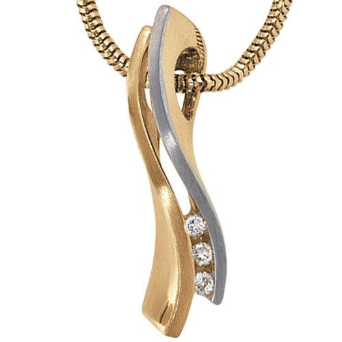 JOBO pendentif en or jaune 585 partiellement rhodié/dépoli avec 3 diamants