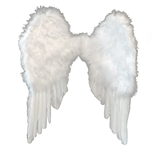 Vs Angel Halloween Costume (White Feather Angel Wings w/ Elastic Harness)