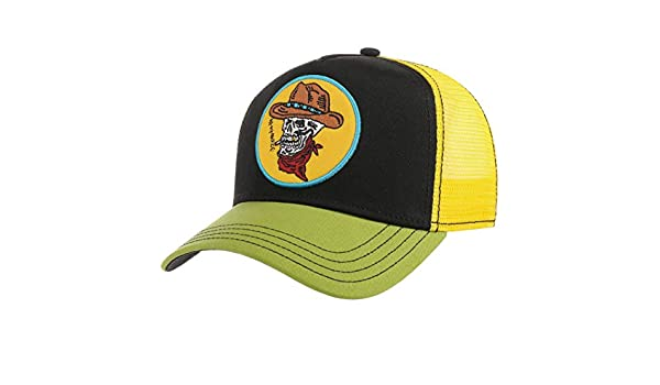 aaad1927a04ac Stetson Skull Cowboy Trucker Cap Women Men Black-Yellow One Size at Amazon  Men s Clothing store