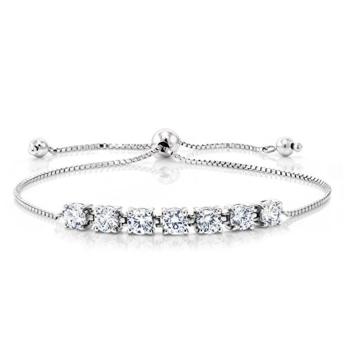 925 Sterling Silver Adjustable Bracelets For Women 2.25 Cttw Round White Created Moissanite Tennis Bracelet