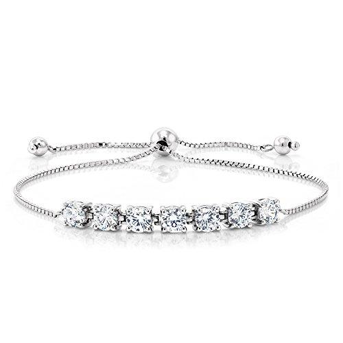 Cttw Created Moissanite 925 Silver Adjustable Bracelet (Moissanite Round Bracelet)