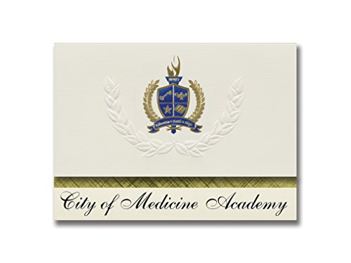 Signature Announcements City of Medicine Academy (Durham, NC) Graduation Announcements, Presidential style, Elite package of 25 with Gold & Blue Metallic Foil seal -