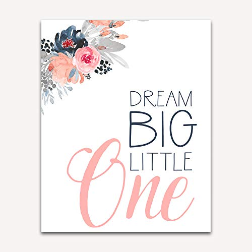 Amazon Com Dream Big Little One Floral Nursery Wall Art Decor For Girl Unframed Handmade