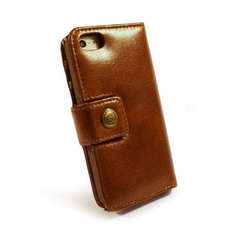 Alston Craig Personalisierte Tasche Hülle (z.B Ihr Name, andere Name, Inschrift) Vintage echt Leder Brieftaschen Case Hülle Tasche für Apple iPhone 5 / 5s / SE (Enthält Bildschirmschutz) - Braun