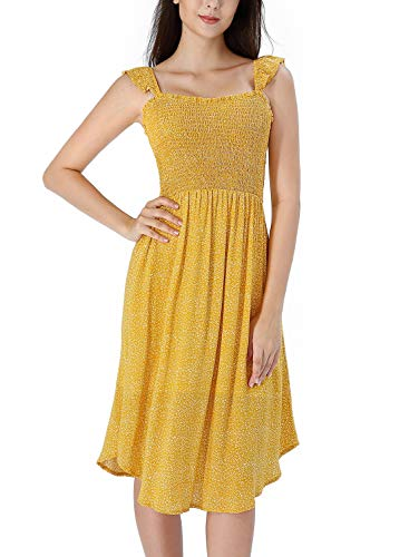 VFSHOW Womens Summer Yellow Dot Print Ruffle Spaghetti Strap Smocked Pockets Pleated Casual Beach Party Swing A-Line Dress Z2913 YEL S