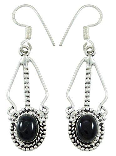 Banithani 925 Pure Silver Indian Dangle Earring Set Fashion Jewelry Gift For Women - Malachite Onyx Earrings