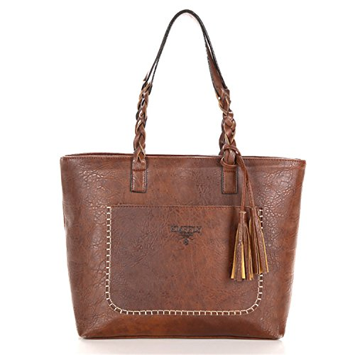Ladies China Handbags (Memoriesed 2018 Large Capacity Women Bags Shoulder Tote Bags Bolsos New Women Messenger Bags With Tassel Famous Designers Leather Handbags Brown Kmf8866)