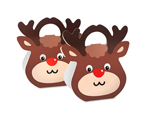 10 Pieces 3D Christmas Rudolph Cardboard Treat Boxes, Christmas Cookie Gift Boxes, Christmas candy boxes, School Classroom Party Favor Boxes (Rudolph Cookie)