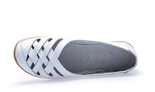 KEESKY Damen Leder Casual Ausgeschnitten Loafers Flache Slip-On Schuhe Weiß