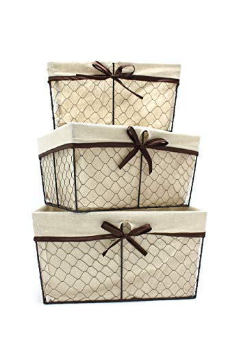 Handcrafted4Home GLNY3008 3-Multi-Size Piece Rectangular Chicken Wire Nesting Storage Baskets/Bin with Removable Washable Fabric Liner for Shelves in Kitchen, Bathroom, Living Room, Office, Bedroom]()