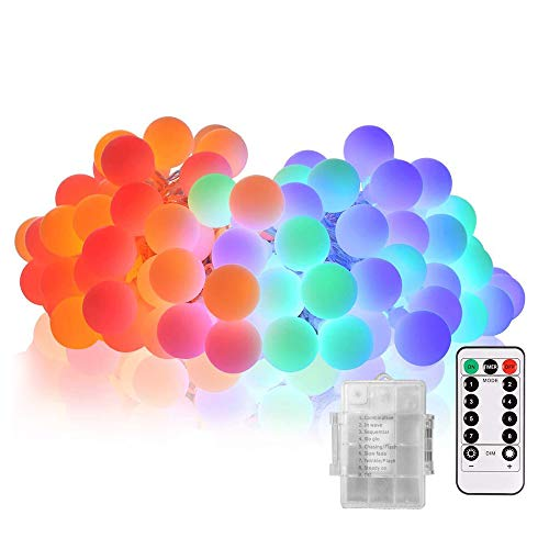 Labvon 50 LEDs 17ft Globe String Light, Battery Powered 8 Modes Indoor/Outdoor Waterproof Decorative String Lights,with Remote & Timer, Multi Color