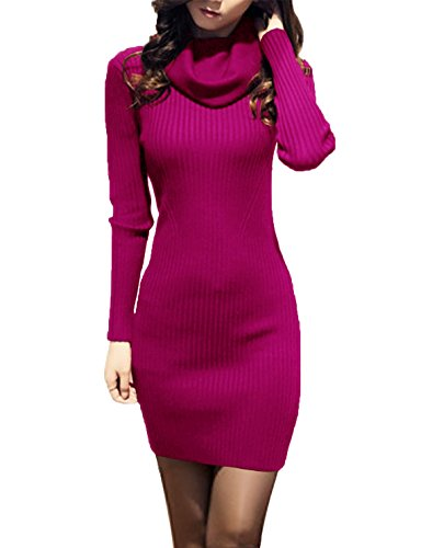 v28 Women Cowl Neck Knit Stretchable Elasticity Long Sleeve Slim Fit Sweater Dress (2-8,Plum)