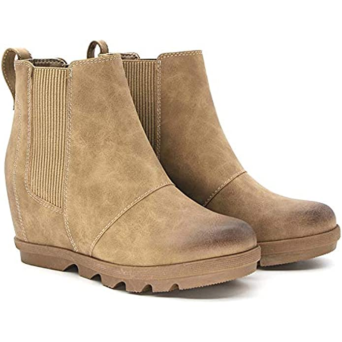 Athlefit Women's Wedge Chelsea Boots Comfortable Ankle Wedge Booties