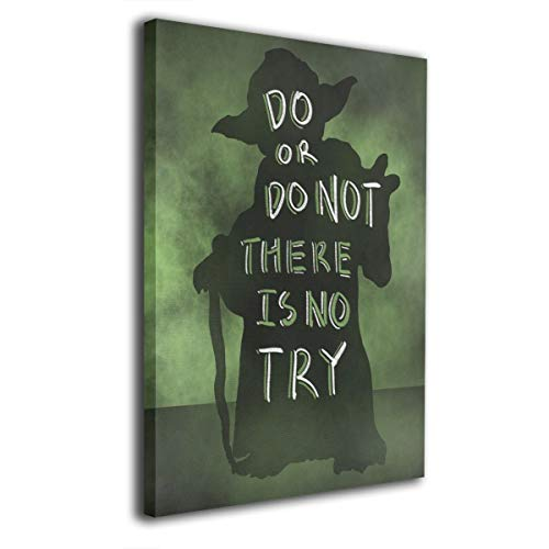 LP ART Canvas Print Wall Art Yoda Quote Do Or Do Not There is No Try Picture Painting for Living Room Bedroom Modern Home Decor Ready to Hang Stretched and Framed Artwork 16''x20''