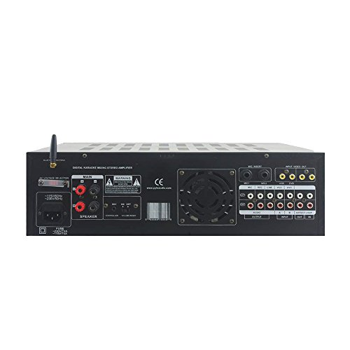 Pyle PMXAKB2000 - 2000 Watts (1000W + 1000W at 4 Ohms) DJ Karaoke Mixer and Amplifier with Built-in Bluetooth - 2 Microphone Inputs with Effects and EQ by Pyle (Image #2)