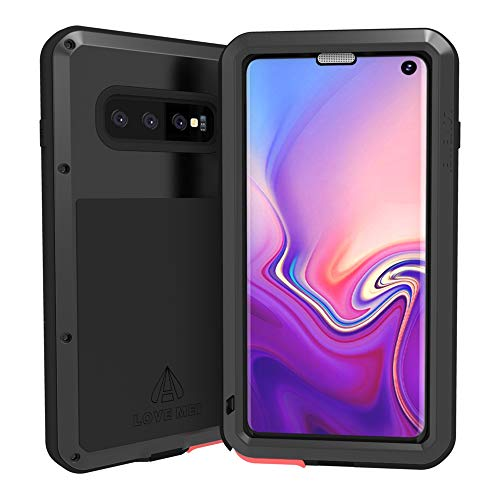 (Love Mei Samsung Galaxy S10 Case Built in Glass Screen Protector Heavy Duty Metal Frame Silicone Rubber Cover Full Body Shockproof Scratch Resistant Bumper for Samsung Galaxy S10 6.1 Inches (Black) )