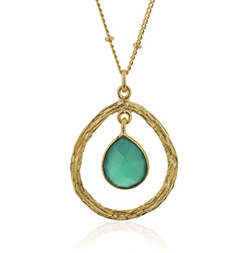 Sweetheart Collar Charm - 18K Gold-Plated Dangling Pear Shape Green Onyx Gemstone Pendant Necklace, 18 inches