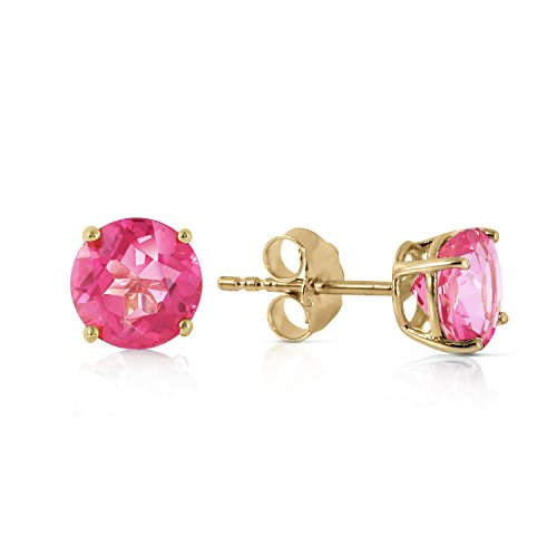 Garnet Topaz & Earrings Pink (Galaxy Gold 14K Solid Gold 1.3 Carat (CTW) Pink Topaz Stud Earrings)