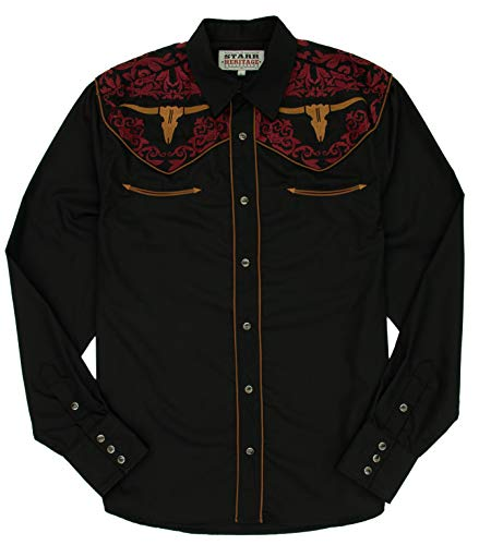 STARR Heritage Vintage Embroidered Western Snap Shirt SHC004-8 | Retro Cow Skull ()