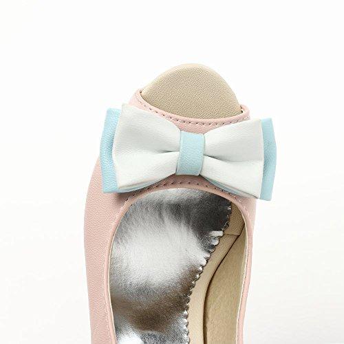 Mee Shoes Damen High Heels Slingback mit Schleifen Sandalen Pink