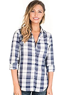 CAMIXA Women Plaid Shirt Linen Button Down Buffalo Check Long Sleeve Ladies Top