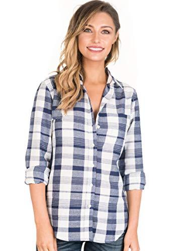CAMIXA Women Plaid Shirt Linen Button Down Buffalo Check Long Sleeve Ladies Top XXL Blue/White