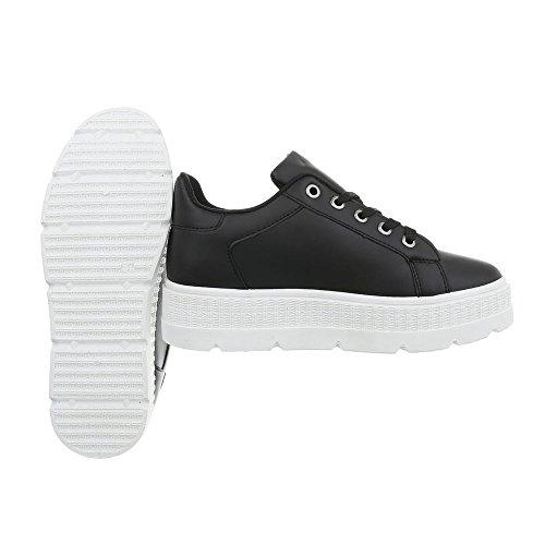 Ital-Design Chaussures Femme Baskets Mode Plat Sneakers Espadrilles Low Noir Xf823-7 zXz7v2tu