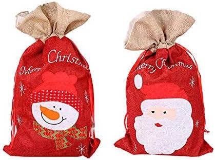 CAOLATOR 100Pcs Sac de Bonbons en Lin Le P/ère No/ël Sac de Cordon de Serrage Pochettes /à Bijoux Sachets pour Biscuit Cadeaux Mariage Kits de F/êtes Rouge