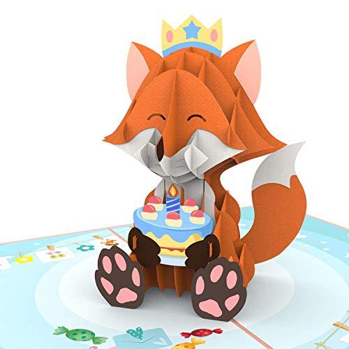 Unipop Cards Fox Birthday Pop Up Card, Birthday Card 3D, Happy Birthday Cards, Anniversary Card, Funny Birthday Card, Cute Greeting Cards For Every Occasion, Birthday Popup Greeting Card