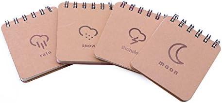 Toyvian 12 stücke Kraftpapier Binder Ring Studienkarten Flash Record Karte Memo Scratch Notizblöcke Kleine Notebooks (Regen Schnee Donner Mond)