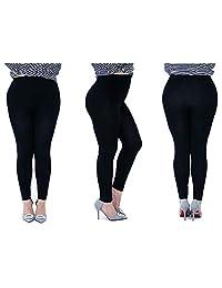 Keewen Women's Ultra Soft Modal Plus-Size Stretch High Waist Black Casual Legging