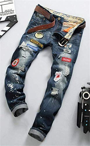 In Slim Applique Jeans Torn Denim Crest Cher Patch Retro Skinny Herenjeans 778 Casual Fit Moderna Uomo Pantaloni Holes waqSw47