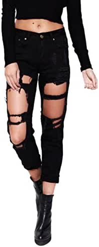 Wink Gal Women Coachella Destroyed Boyfriend Jeans Ripped Washed Denim Trousers