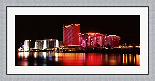 Riverside Casino, Laughlin, Clark County, Nevada by Panoramic Images Framed Art Print Wall Picture, Flat Silver Frame, 44 x 20 - Laughlin Images Of Nevada