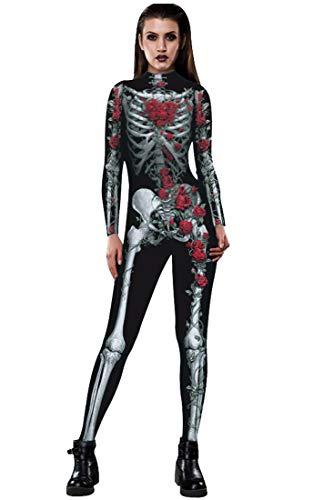 Honeystore Women's Skeleton Halloween Costume Catsuit Bodysuit Cosplay Jumpsuits BAX008
