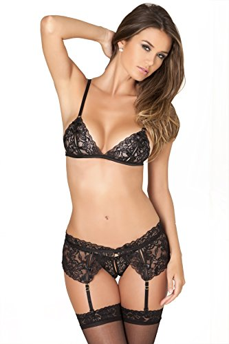 Crotchless Set - Rene Rofe Women's Sexy Lingerie Peek A Boo Lace Bra Garter & Crotchless Panties (Medium / Large)