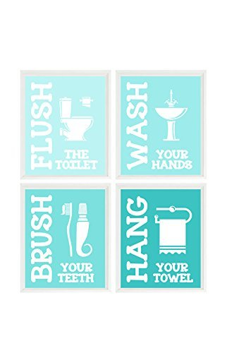 Kids Bathroom Wall Art, Wash, Flush, Brush, Hang, Boys Bathroom Art